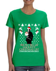 Women's T Shirt My Naughty Xmas List Arya Stark Ugly Christmas