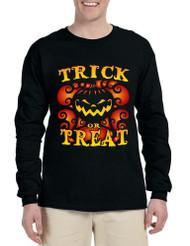 Men's Long Sleeve Trick Or Treat Halloween Top Pumpkin Shirt
