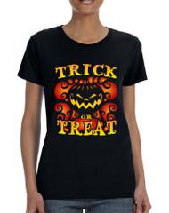 Women's T Shirt Trick Or Treat Cute Halloween Pumpkin Tshirt