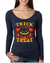 Women's Shirt Trick Or Treat Cool Halloween Pumpkin Shirt