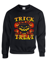 Adult Sweatshirt Trick Or Treat Cool Halloween Pumpkin Top