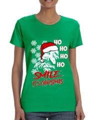 Women's T Shirt Christmas Joker Smile Its Christmas Holiday Tshirt