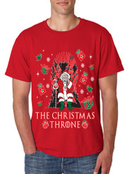 Men's T Shirt The Christmas Throne Santa Trendy Ugly Xmas Tee