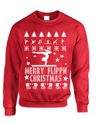 Adult Sweatshirt Merry Flippn Christmas Gymnastics Ugly Xmas