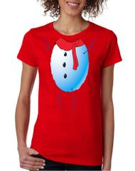 Women's T Shirt Snowman Tie Cute Ugly Christmas Trendy Shirt