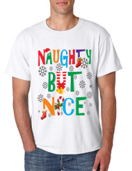 Men's T Shirt Naughty But Nice Humor Xmas Shirt Cute Holiday Gift