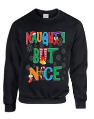 Adult Sweatshirt Naughty But Nice Cute Xmas Shirt Funny Gift
