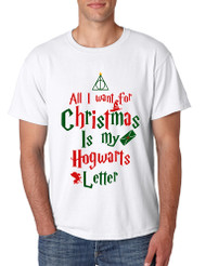 Men's T Shirt All I Want For Xmas Is Hogwarts Letter Holiday Gift