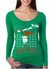 Women's Shirt The North Pole Remembers Ugly Xmas Gift Cool Tee