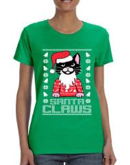 Women's T Shirt Santa Claws Cat Ugly Xmas Cute Cats Lover Gift