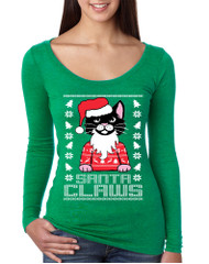 Women's Shirt Santa Claws Cat Ugly Xmas Cute Cats Lover Gift