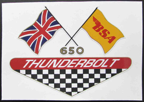 "BSA 650 THUNDERBOLT CUSTOM SIDE COVER DECAL 5.25"" X 3.75"""