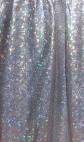 Silver Hologram on Navy Spandex Fabric