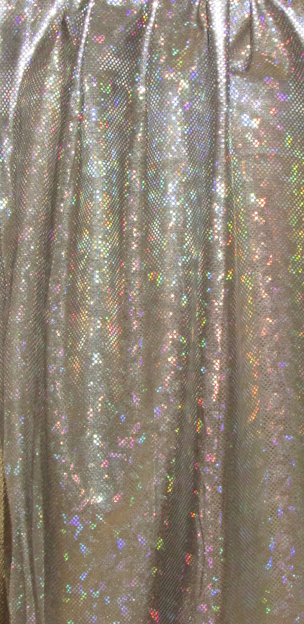 Silver Hologram on Green Spandex Fabric - fabric fabric