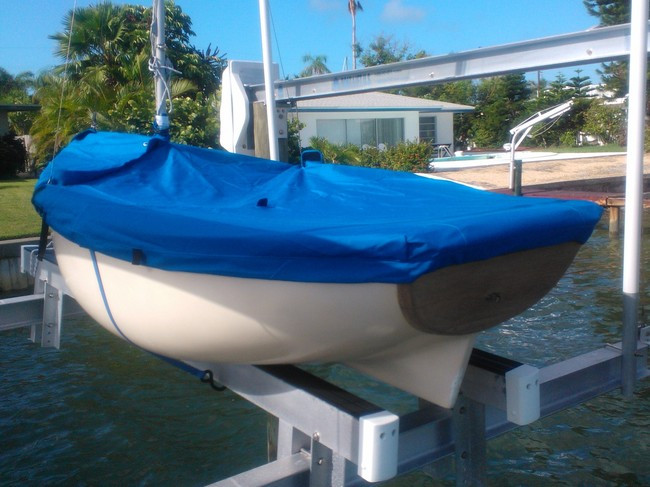 Bauer 10 Sailboat Mooring Cover Top Deck Cover Made in the USA Sunbrella Pacific blue Mast Up Cover