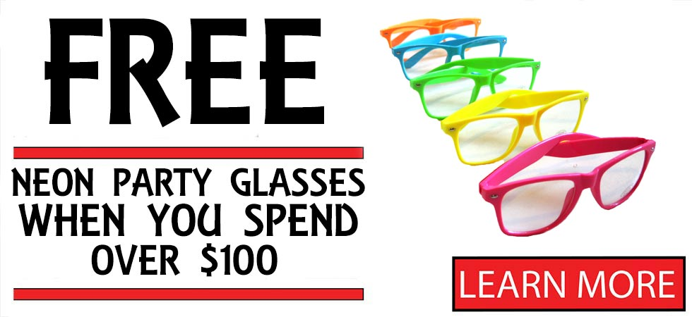 Free Neon Party Glasses spend $100.00 oe more