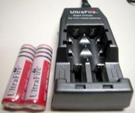 UltraFire 3000mAh 3.7V Rechargeable li-ion Battery Bundle