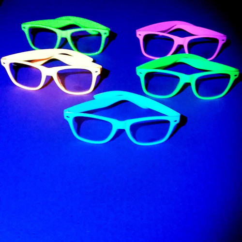 Neon Party Glasses under UV Black Lights.