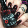 """Forbidden Love"" Valentines '16 ""First Crush"" Collection  Swatch by Polish and Paws/ Two coats with glossy top coat shown over black base."