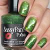 One Bad Apple shown here with three coats and glossy top coat.  Swatched by Manicured & Marvelous.