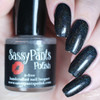 Love Always (Holographic Topper) Shown here over black Mini bottle Swatch by Sloppy Swatches