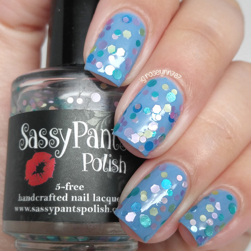 """""""Sprinkles"""" shown over """"Blue Moon"""" both from the Spring '16 Ice Cream Social Collection.  Shown here in two coats and sealed by top coat by Manicured and Marvelous."""