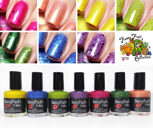 Entire Funny Fruit Collection  Swatches by Sassy Shelly and Bottle Shot By Manicured & Marvelous