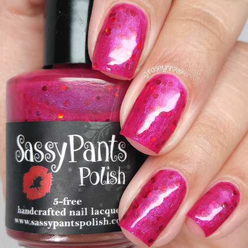 Cherry Poppin', two coats plus glossy top coat by Manicured & Marvelous