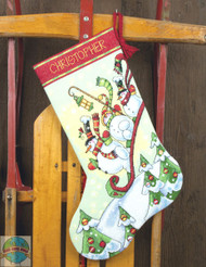 Dimensions - Sledding Snowman Stocking