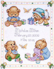 Design Works - Baby Bear Sampler Birth Record