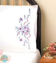 Design Works - Purple Floral Pillowcase Pair