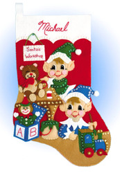 Design Works - Busy Elves Stocking