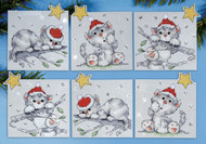 Design Works - Christmas Cats Ornament Set (6)