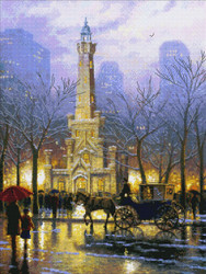 Thomas Kinkade - Chicago, Winter at the Water Tower