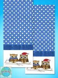 Design Works - Owls Towels (2) w/Floss
