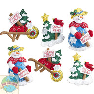 Plaid / Bucilla - Snow Garden Ornaments Set (6)