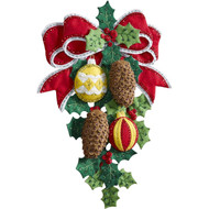 Plaid / Bucilla - Pine Cones and Holly