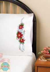 Design Works - Poinsettia Pillowcases (2)