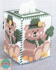 Design Works - St. Patrick's Bear Tissue Box Cover