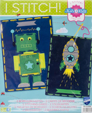 Vervaco Kits 4 Kids - Robot & Rocket Embroidery Cards
