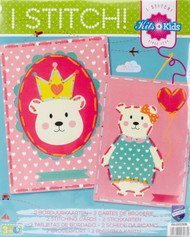 Vervaco Kits 4 Kids - Bear Crown and Balloon Embroidery Cards