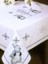 Design Works - Blue Snowman 50in x 70in Tablecloth