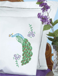Jack Dempsey Needle Art - Peacock Pillowcase Set (2)