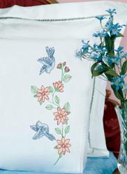 Jack Dempsey Needle Art - Birds & Flowers Pillowcase Set (2)