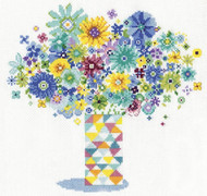 Design Works - Blue Floral Quilt Vase