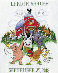 Design Works - Barnyard Sampler Birth Record