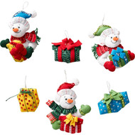 Plaid / Bucilla - Snowman with Presents Ornaments