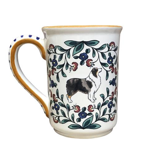Handmade Blue Merle (dark) Australian Shepherd mug from shepherds-grove.com.