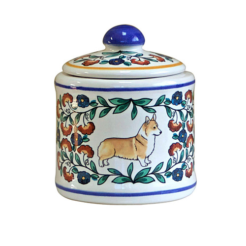 Red and white Welsh Pembroke Corgi sugar bowl - handmade by shepherds-grove.com
