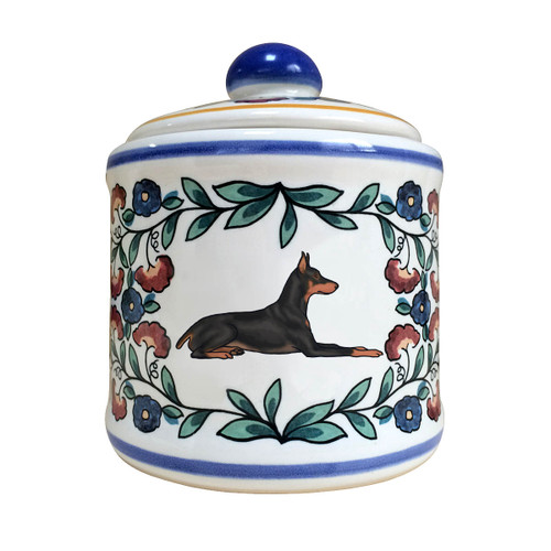 Black and rust Doberman Pinscher Sugar bowl - handmade by shepherds-grove.com